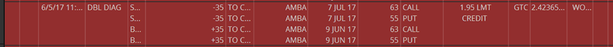 ALTB - Closed AMBA Earnings Trade JUN9/JUL7 55/63 for 50% profit in 2 days